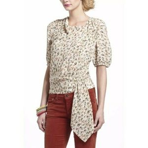 Anthropologie Leifnotes Side-tied sparrow top.